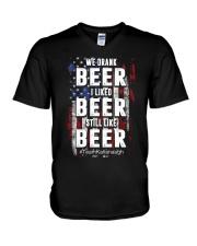 I LIKED BEER STILL LIKE BEER  V-Neck T-Shirt thumbnail