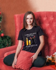 A WOMAN CANNOT SURVIVE ON BEER ALONE SHE ALSO  Ladies T-Shirt lifestyle-holiday-womenscrewneck-front-2