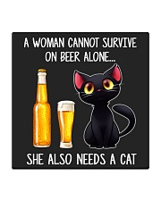 A WOMAN CANNOT SURVIVE ON BEER ALONE SHE ALSO  Square Coaster thumbnail