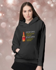 Love your enemy Hooded Sweatshirt lifestyle-holiday-hoodie-front-1
