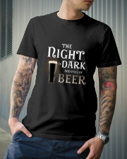 The night is dark and full of beer Classic T-Shirt lifestyle-mens-crewneck-front-6