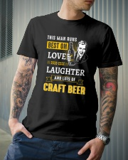 THIS MAN RUNS BEST ON LOVE LAUGHTER AND LOTS OF Classic T-Shirt lifestyle-mens-crewneck-front-6