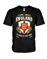 England it's where my story began V-Neck T-Shirt thumbnail