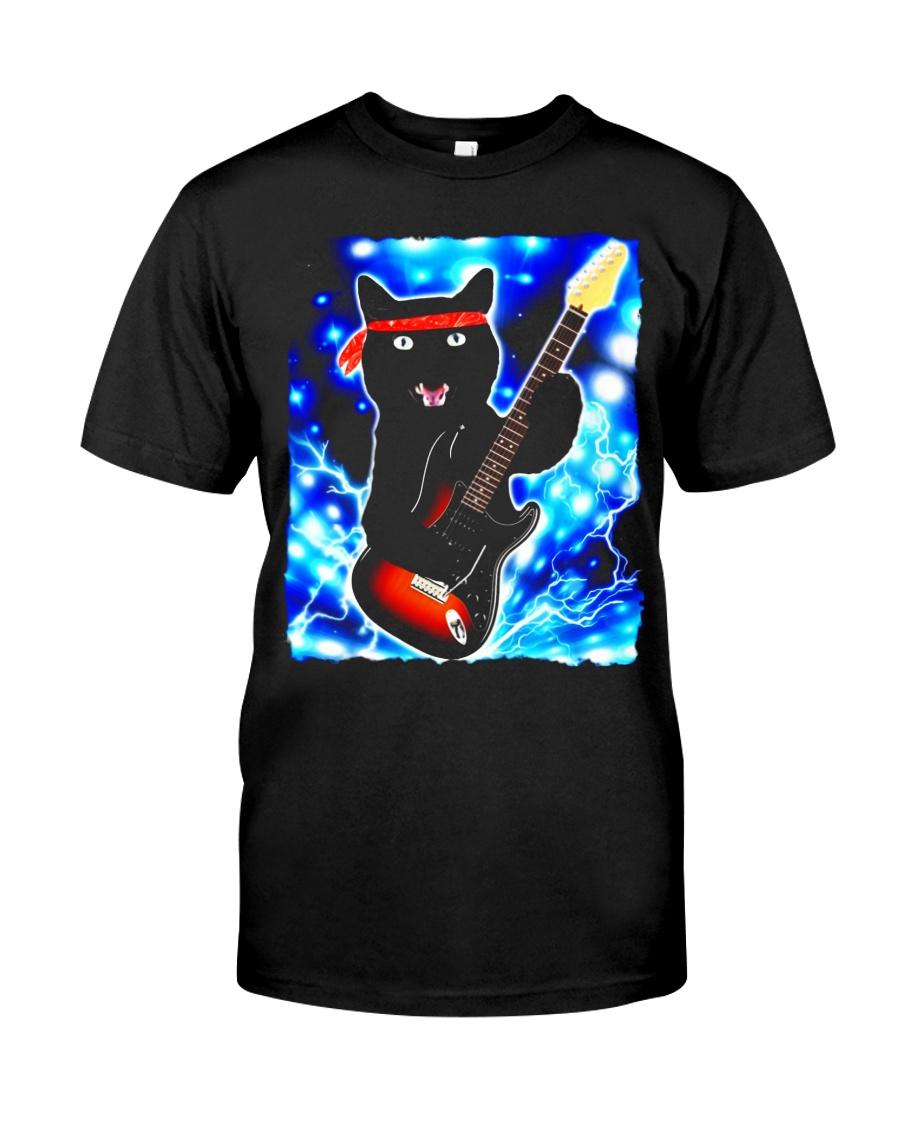 Cat Guitar Shirt Rock Band Tshirts Epic Solo Conce Classic T-Shirt