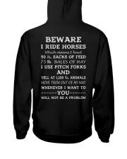 BEWARE I RIDE HORSES - 1 DAY LEFT Hooded Sweatshirt back