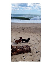 Dachshunds at the beach Beach Towel tile