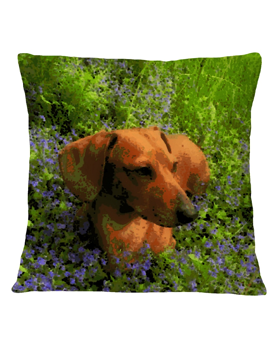 Dachshund in field of flowers Square Pillowcase