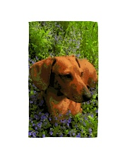 Dachshund in field of flowers Hand Towel thumbnail