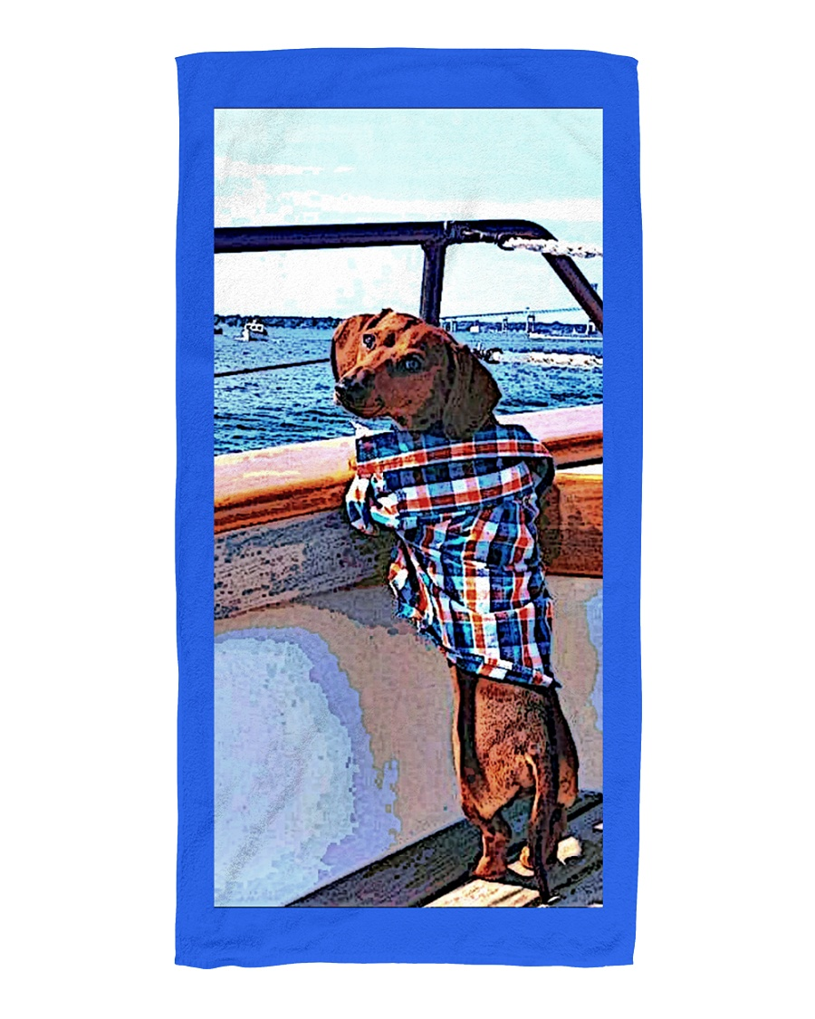 Sail Away With Me- Dachshund Beach towel Beach Towel