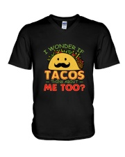 I Wonder If Tacos Think About Me Too T-Shirt V-Neck T-Shirt thumbnail