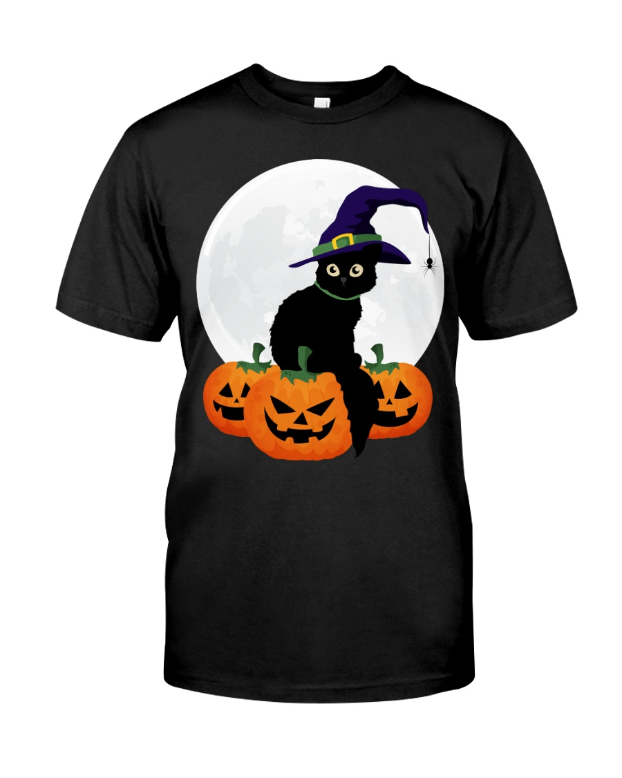 Cute Black Cat Halloween Pumpkin TShirt Classic T-Shirt