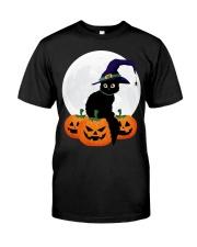 Cute Black Cat Halloween Pumpkin TShirt Premium Fit Mens Tee thumbnail