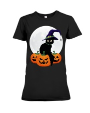 Cute Black Cat Halloween Pumpkin TShirt Premium Fit Ladies Tee thumbnail