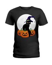 Cute Black Cat Halloween Pumpkin TShirt Ladies T-Shirt thumbnail