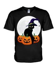 Cute Black Cat Halloween Pumpkin TShirt V-Neck T-Shirt thumbnail