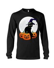 Cute Black Cat Halloween Pumpkin TShirt Long Sleeve Tee thumbnail