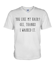 Afro Woman You Like My Hair V-Neck T-Shirt thumbnail