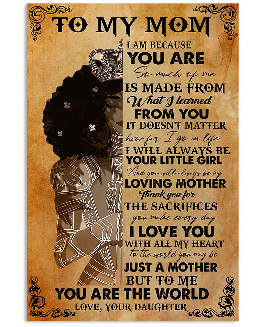To My Mom Afro Black Mother 11x17 Poster
