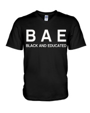 Black And Educated V-Neck T-Shirt tile
