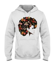 Black Woman Afro Hair With Flower Hooded Sweatshirt thumbnail