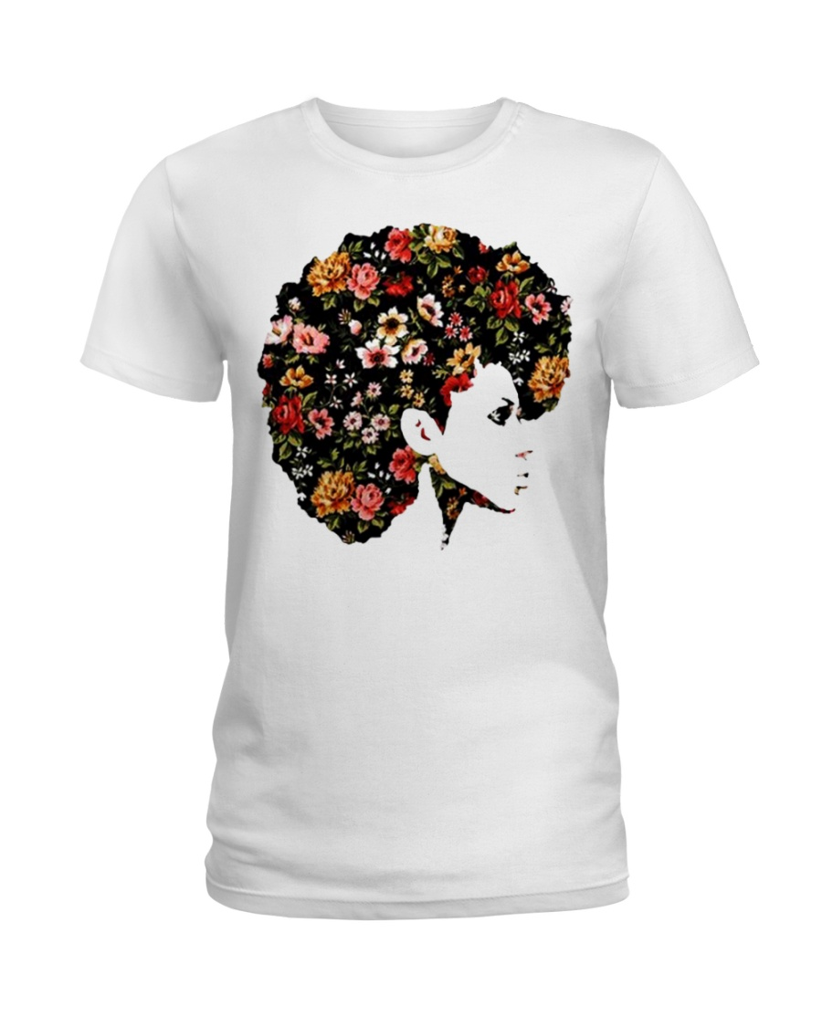 Black Woman Afro Hair With Flower Ladies T-Shirt