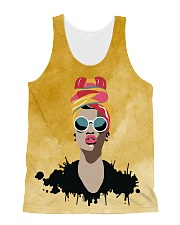 Melanin Woman And Beautiful Headwrap  All-over Unisex Tank thumbnail