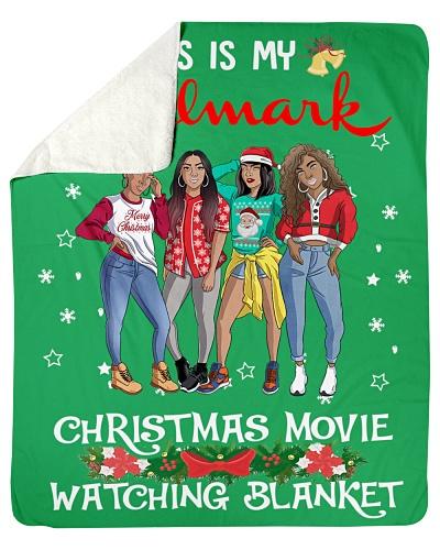 Afro Girls Christmas Sherpa Fleece Blanket