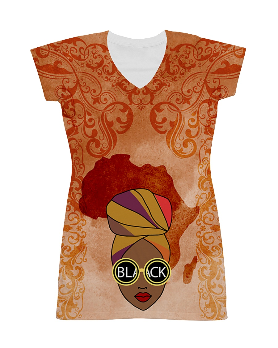 Afro Woman And Beautiful Headwrap All-over Dress