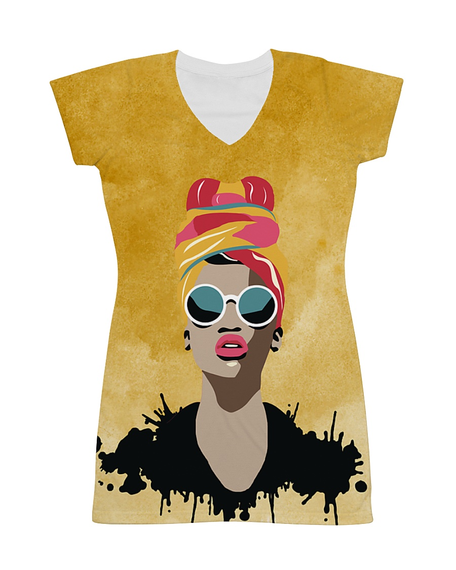 Beautiful Headwrap And Afro Woman All-over Dress