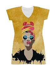 Beautiful Headwrap And Afro Woman All-over Dress front