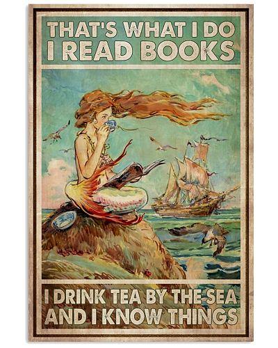 Mermaid Read Books Drink Tea