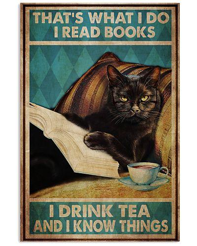 Black Cat Read Books Drink Tea