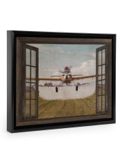Agricultural Aircraft Window View Floating Framed Canvas Prints Black tile