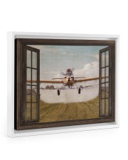 Agricultural Aircraft Window View Floating Framed Canvas Prints White tile
