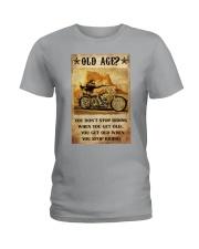 Old Man Motorcycle Don't Stop Riding Ladies T-Shirt tile