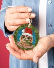 Owl Merry Christmas Circle ornament - single (porcelain) aos-circle-ornament-single-porcelain-lifestyles-01