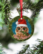 Owl Merry Christmas Circle ornament - single (porcelain) aos-circle-ornament-single-porcelain-lifestyles-07