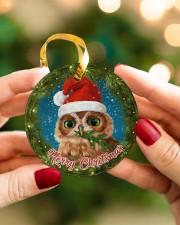 Owl Merry Christmas Circle ornament - single (porcelain) aos-circle-ornament-single-porcelain-lifestyles-08