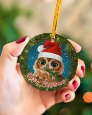 Owl Merry Christmas Circle ornament - single (porcelain) aos-circle-ornament-single-porcelain-lifestyles-09