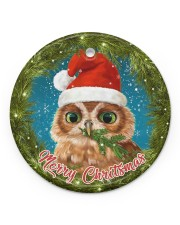 Owl Merry Christmas Circle ornament - single (porcelain) front