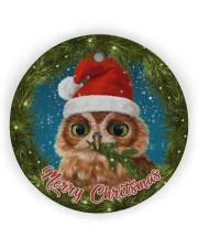 Owl Merry Christmas Circle ornament - single (wood) thumbnail