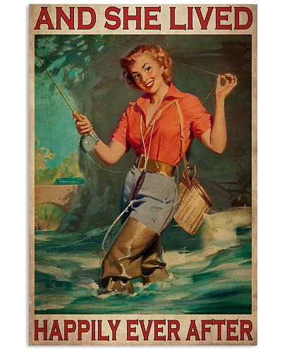 Fly Fishing Girl Happily Poster