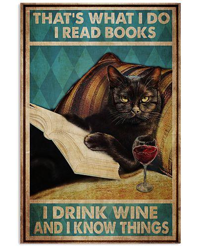 Black Cat Read Books Drink Wine