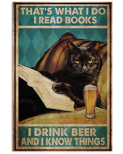 Black Cat Read Books Drink Beer