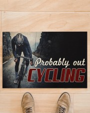 """Probably Out Cycling Doormat 22.5"""" x 15""""  aos-doormat-22-5x15-lifestyle-front-02"""