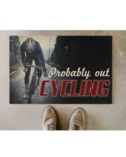"""Probably Out Cycling Doormat 22.5"""" x 15""""  aos-doormat-22-5x15-lifestyle-front-04"""