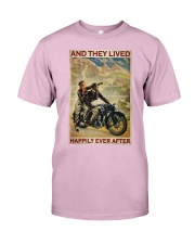 Vintage Motorcycle Couple And They Lived Classic T-Shirt tile