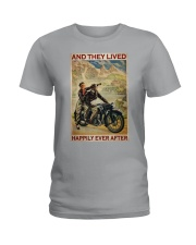 Vintage Motorcycle Couple And They Lived Ladies T-Shirt tile