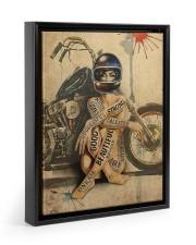 Motorcycle Girl I Am Floating Framed Canvas Prints Black tile