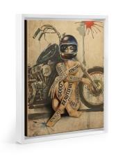 Motorcycle Girl I Am Floating Framed Canvas Prints White tile